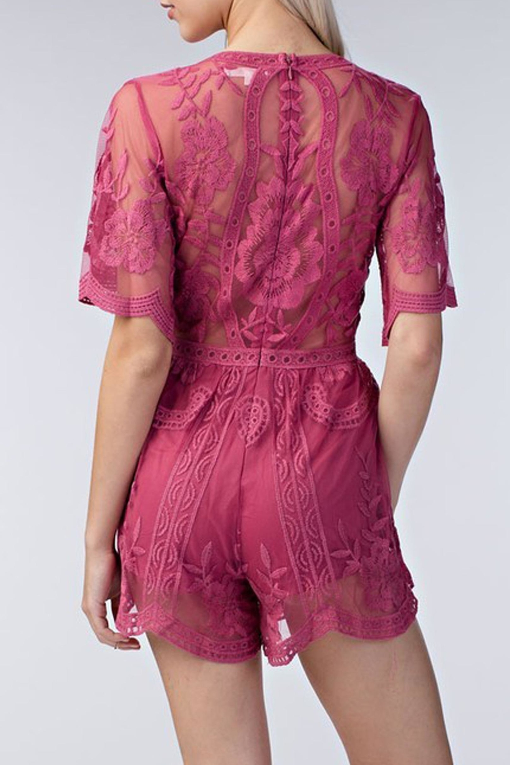 Style Trolley Raspberry Lace Romper - Front Full Image