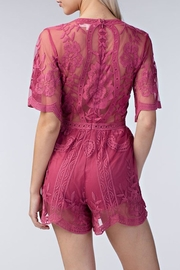Style Trolley Raspberry Lace Romper - Front full body