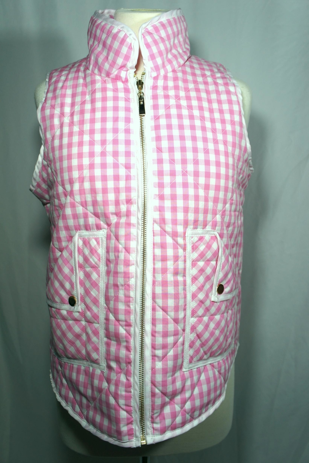 Styleholic Gingham Puffer Vest - Front Cropped Image