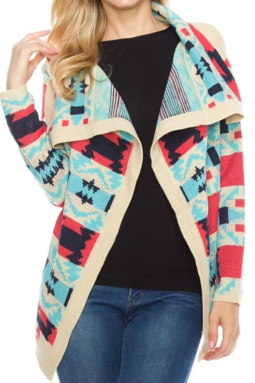 Styleholic Tribal Pattern Cardigan - Main Image