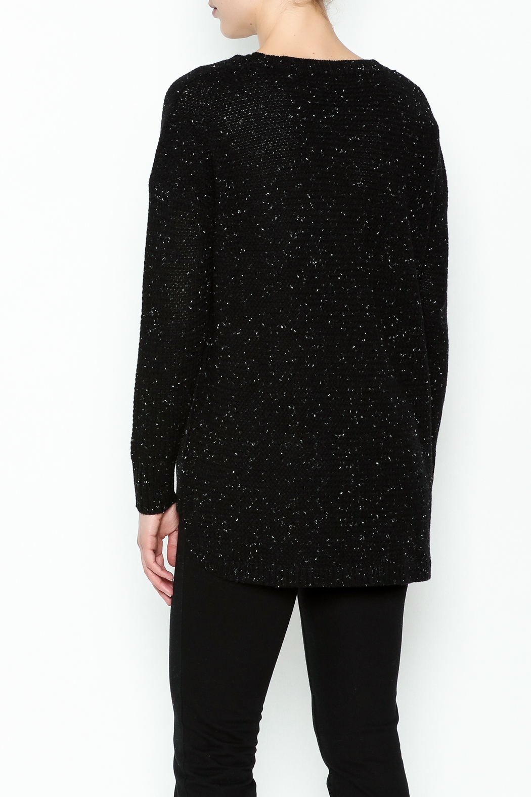 subtle luxury Basket Weave Pullover - Back Cropped Image