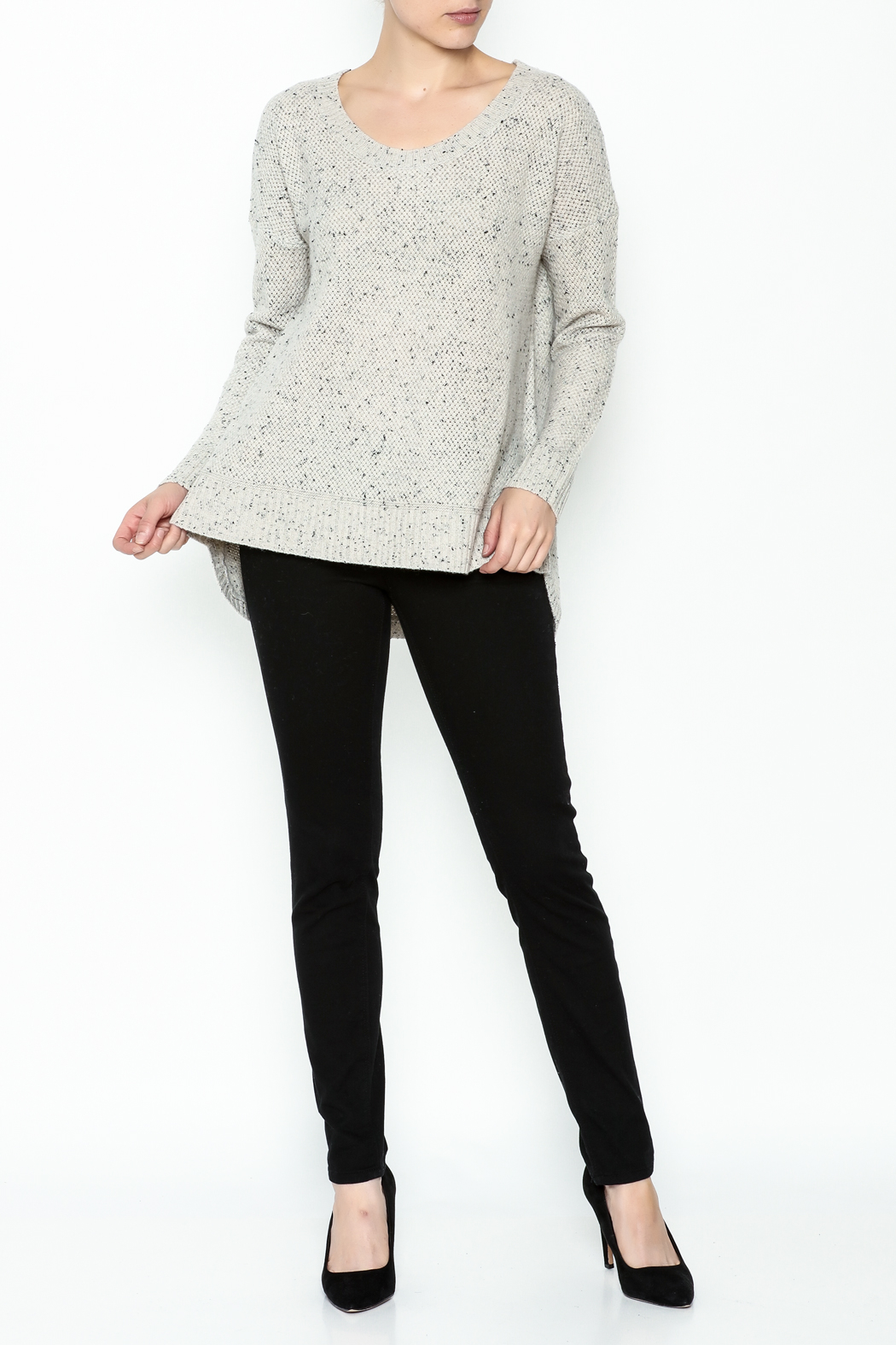 subtle luxury Basket Weave Pullover - Side Cropped Image