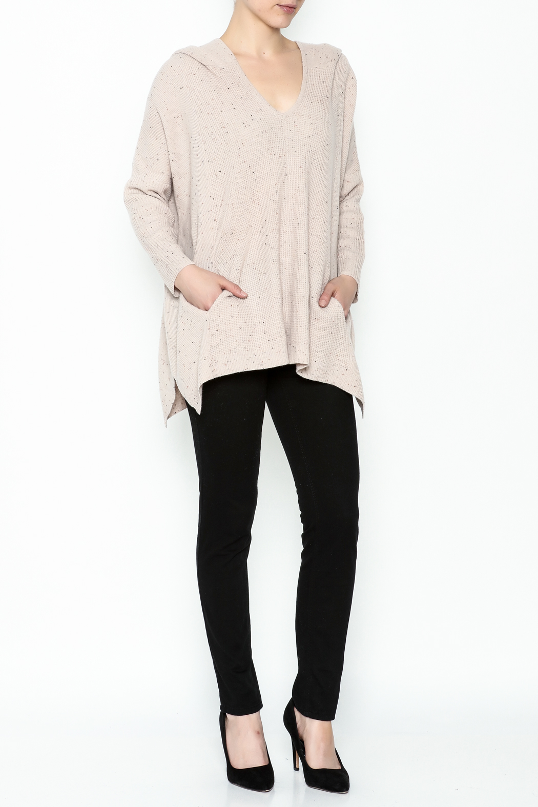 subtle luxury Sweater Hoodie Poncho - Side Cropped Image