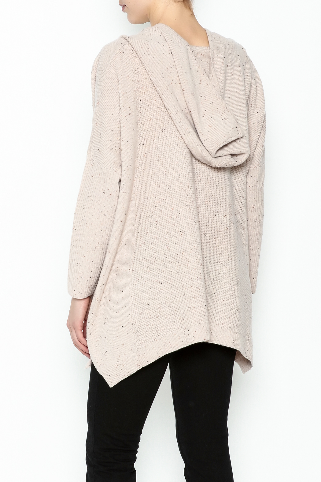 subtle luxury Sweater Hoodie Poncho - Back Cropped Image