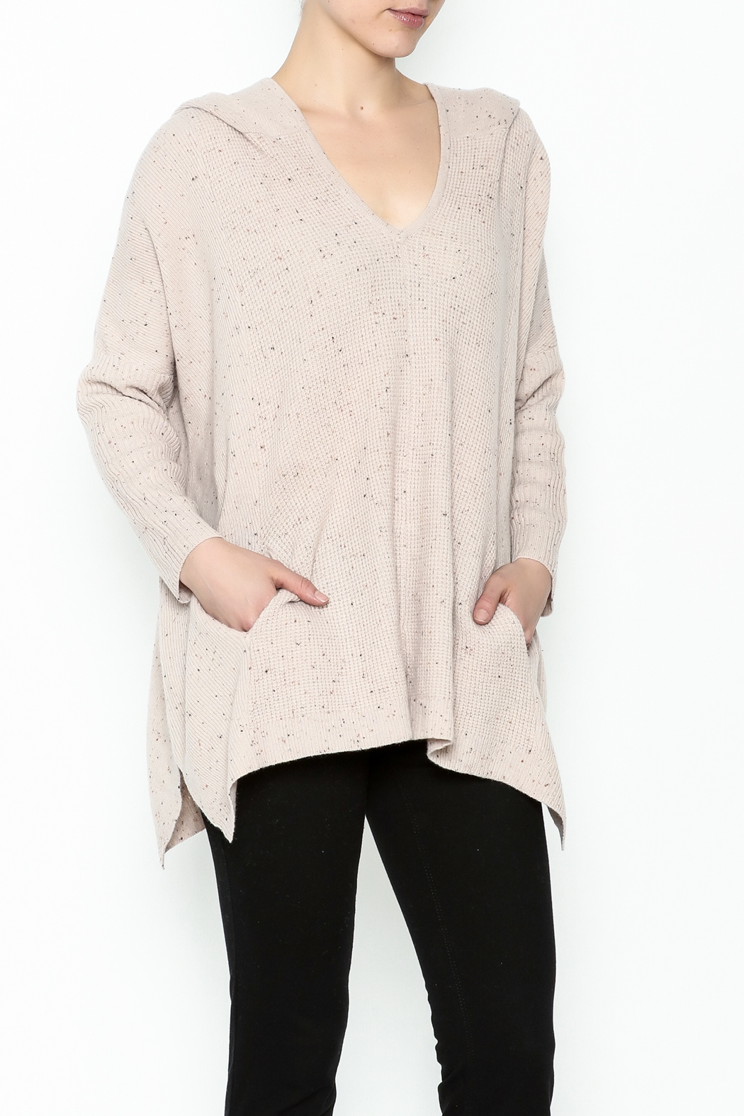 subtle luxury Sweater Hoodie Poncho - Main Image