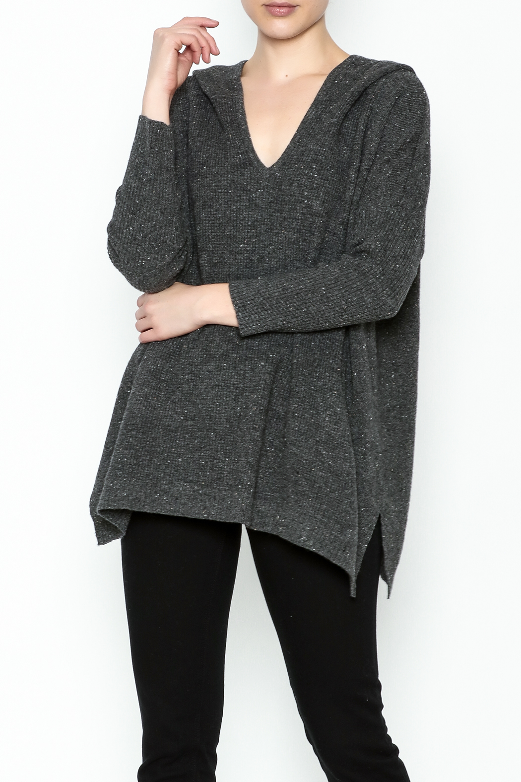 subtle luxury Sweater Hoodie Poncho - Front Cropped Image