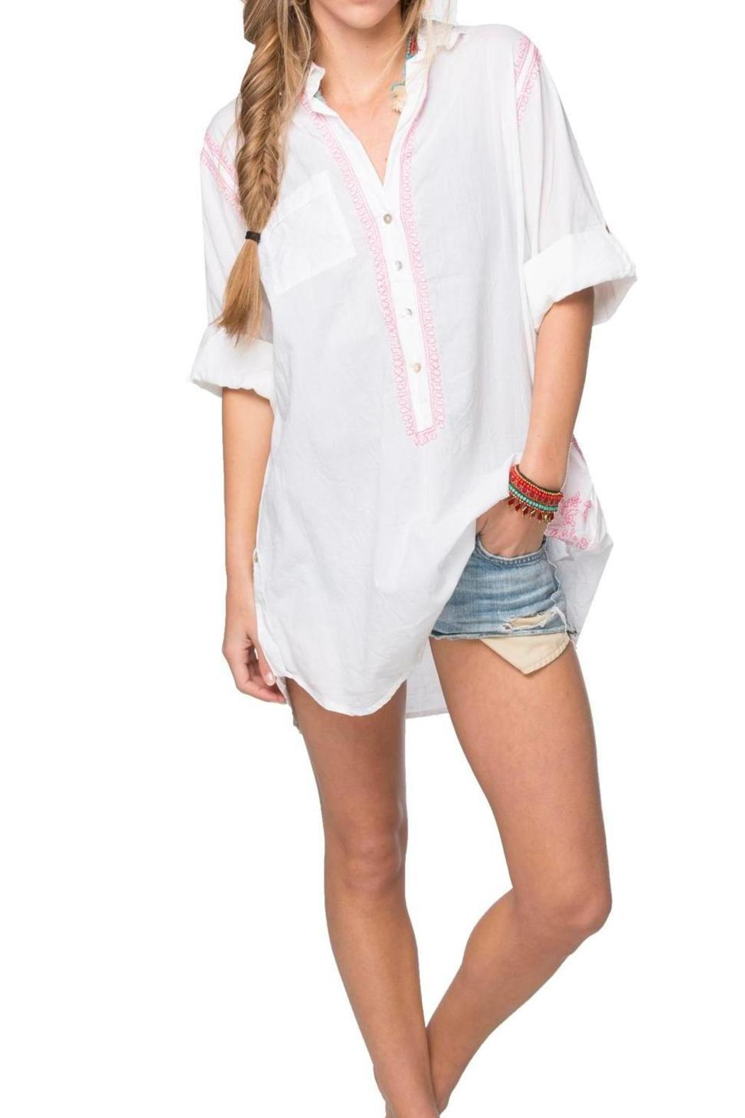 d79f358aaaa2d subtle luxury Embroidered Boyfriend Shirt - Front Cropped Image