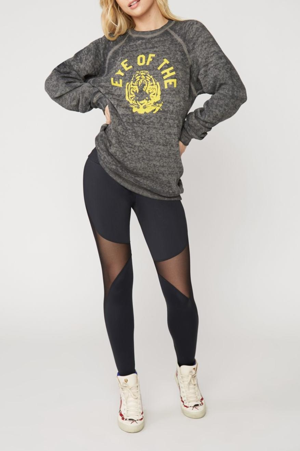 Suburban riot Tiger Burnout Pullover - Front Cropped Image