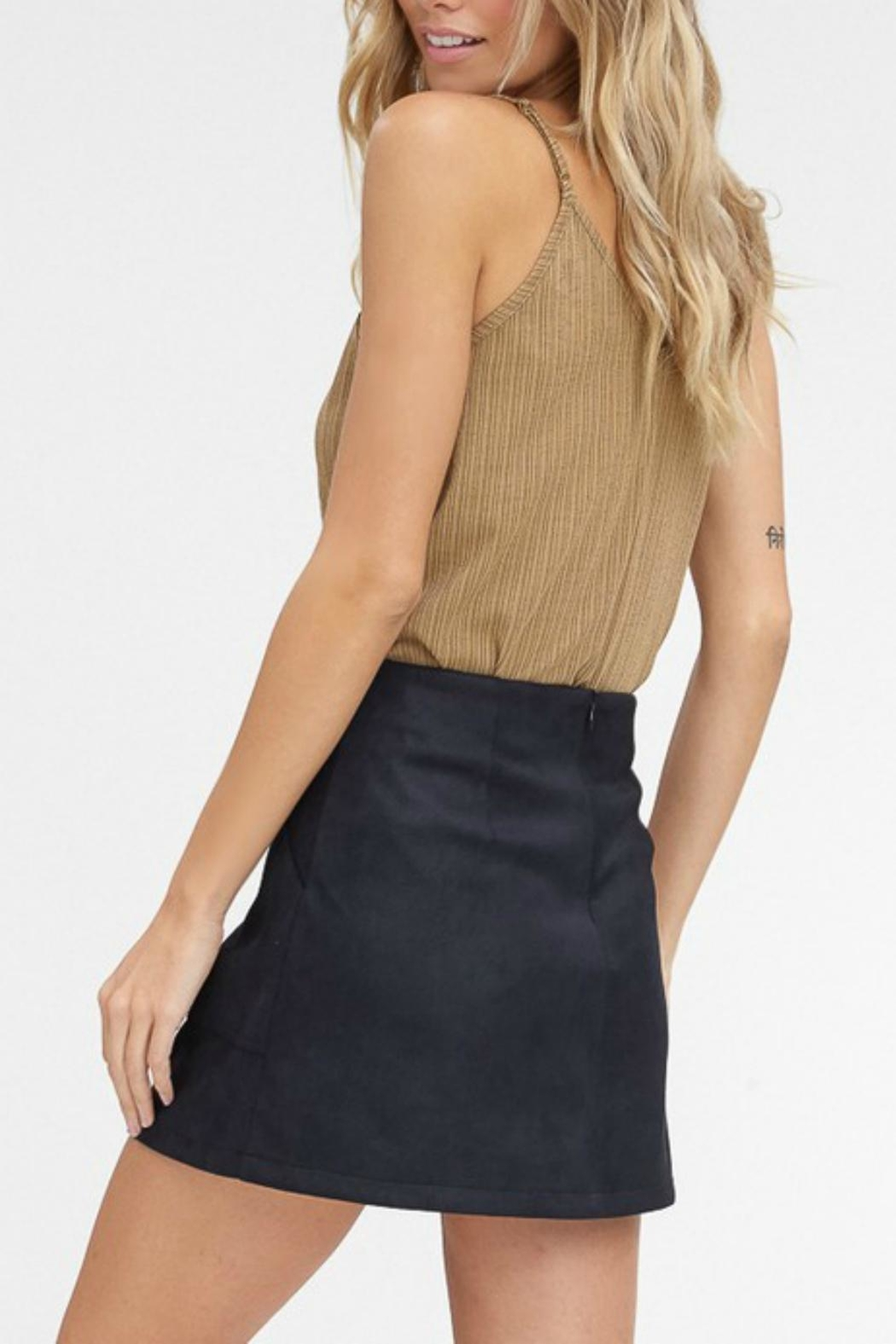 Pretty Little Things Suede A-Line Skirt - Side Cropped Image