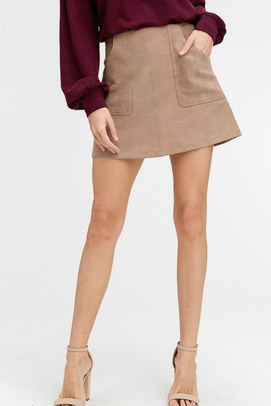 Pretty Little Things Suede A-Line Skirt - Main Image