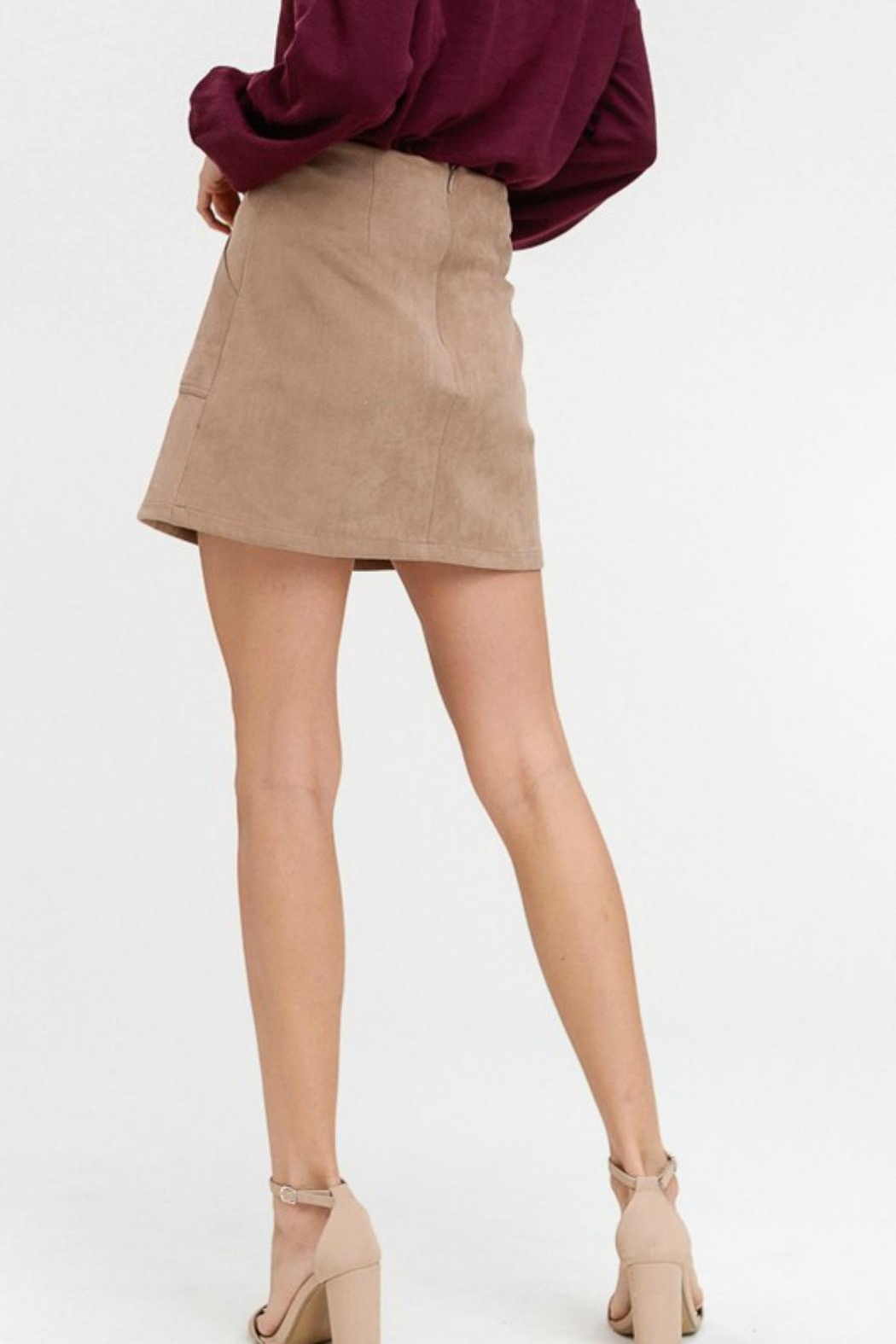 Pretty Little Things Suede A-Line Skirt - Front Full Image