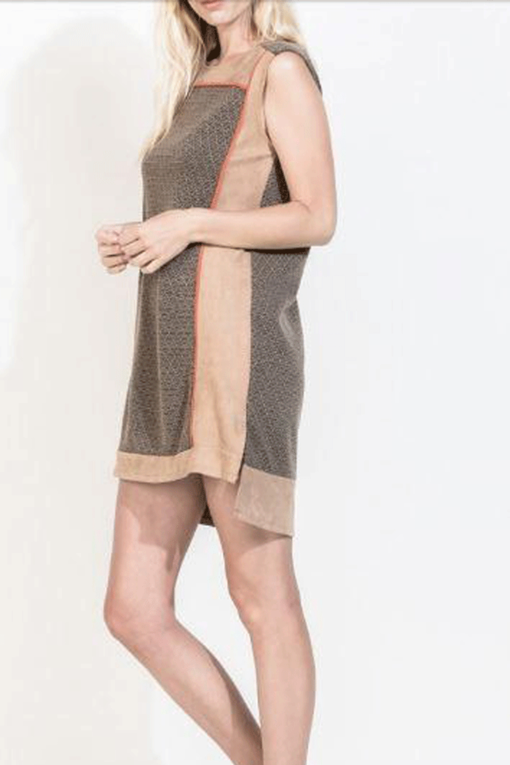 THML  Suede and Sweater A-Line Dress - Front Full Image