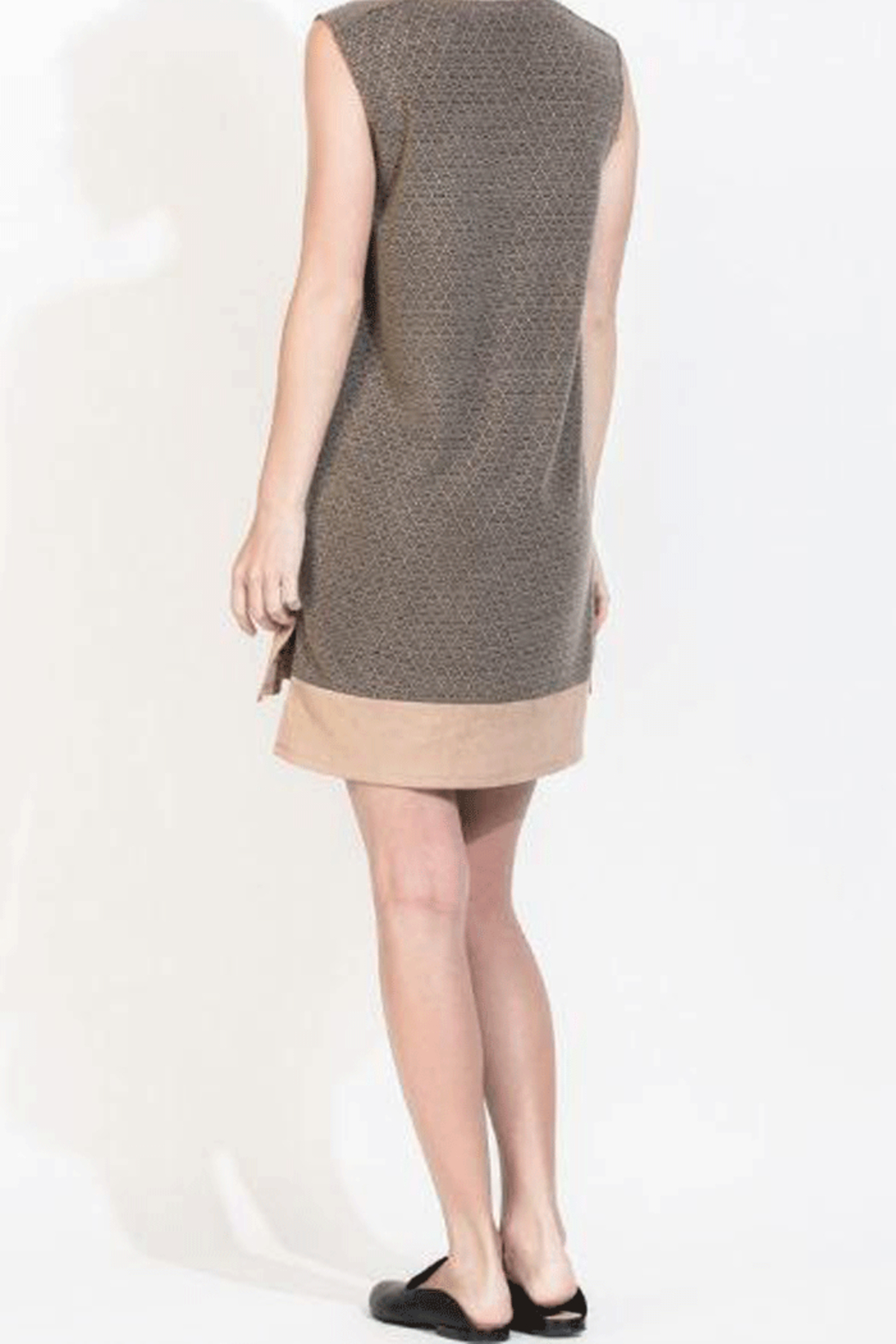 THML  Suede and Sweater A-Line Dress - Side Cropped Image