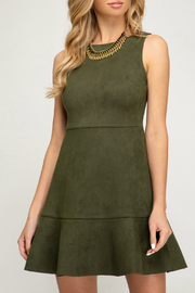 She + Sky Suede Flounce Hem Dress - Product Mini Image