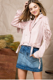 Private Label Suede Fringe Jacket - Front full body