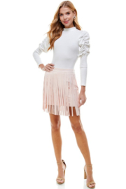 TCEC Suede Fringe Skirt - Product Mini Image