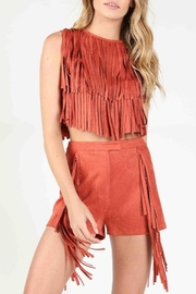 Wild Honey Suede Fringe Tank - Front cropped