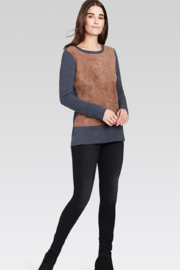 Ecru Suede Front Long Top - Product Mini Image