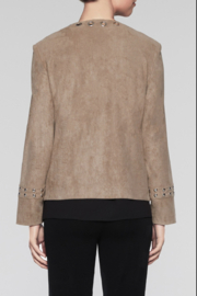 Ming Wang Suede Grommet Trim Jacket - Front full body