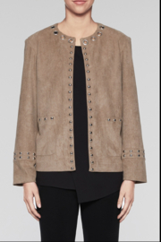 Ming Wang Suede Grommet Trim Jacket - Front cropped