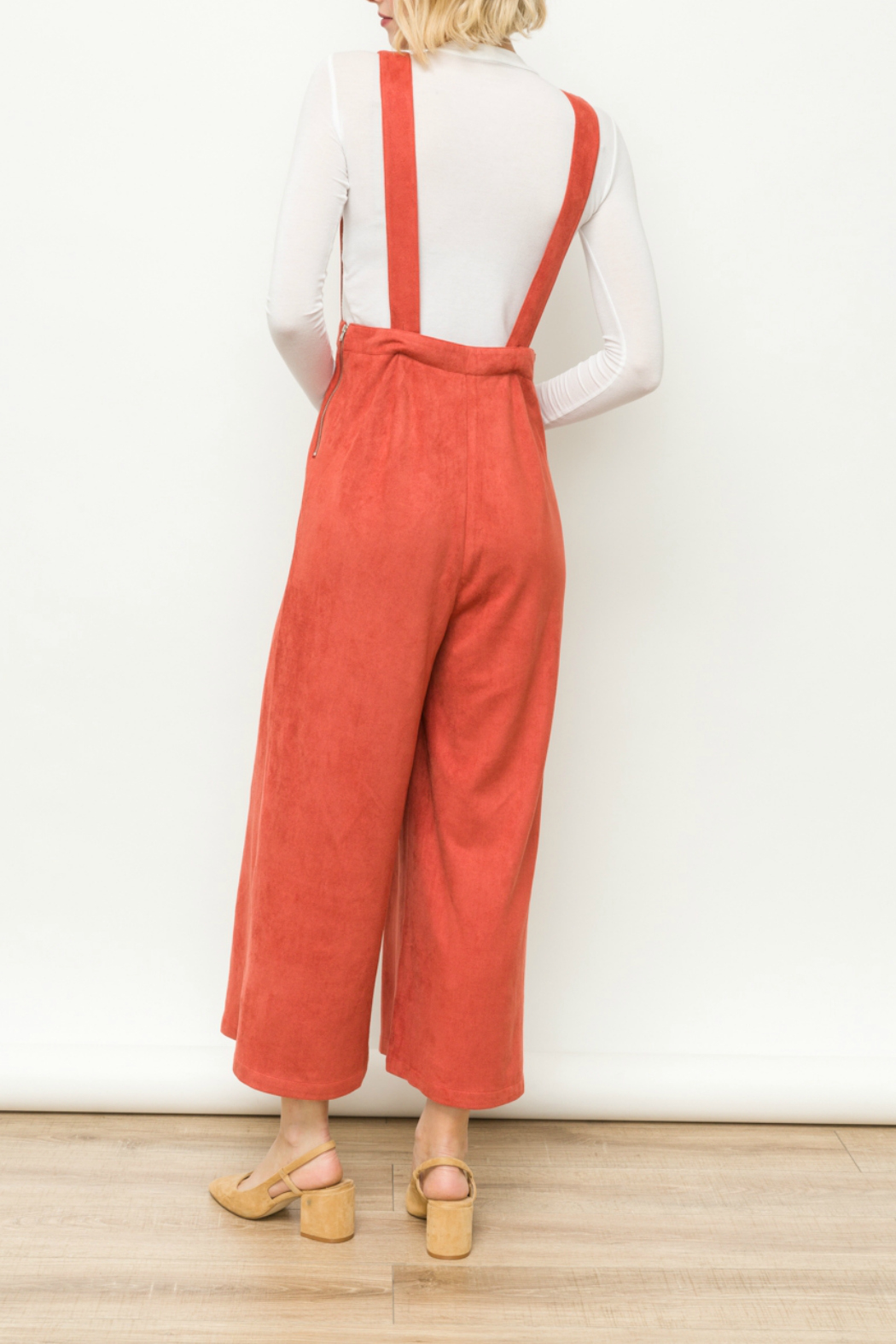 Mystree Suede Jumpsuit - Side Cropped Image