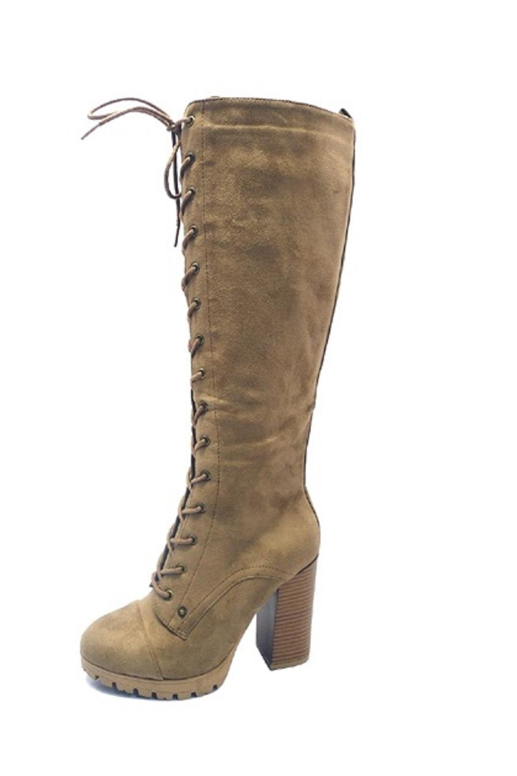 Adore Clothes & More Suede Lace-Up Boots - Front Cropped Image