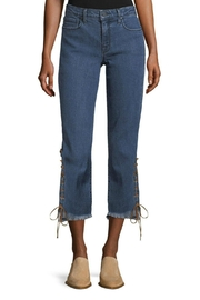 Parker Smith Suede Lace Up Fringe Hem Straight Jean - Product Mini Image