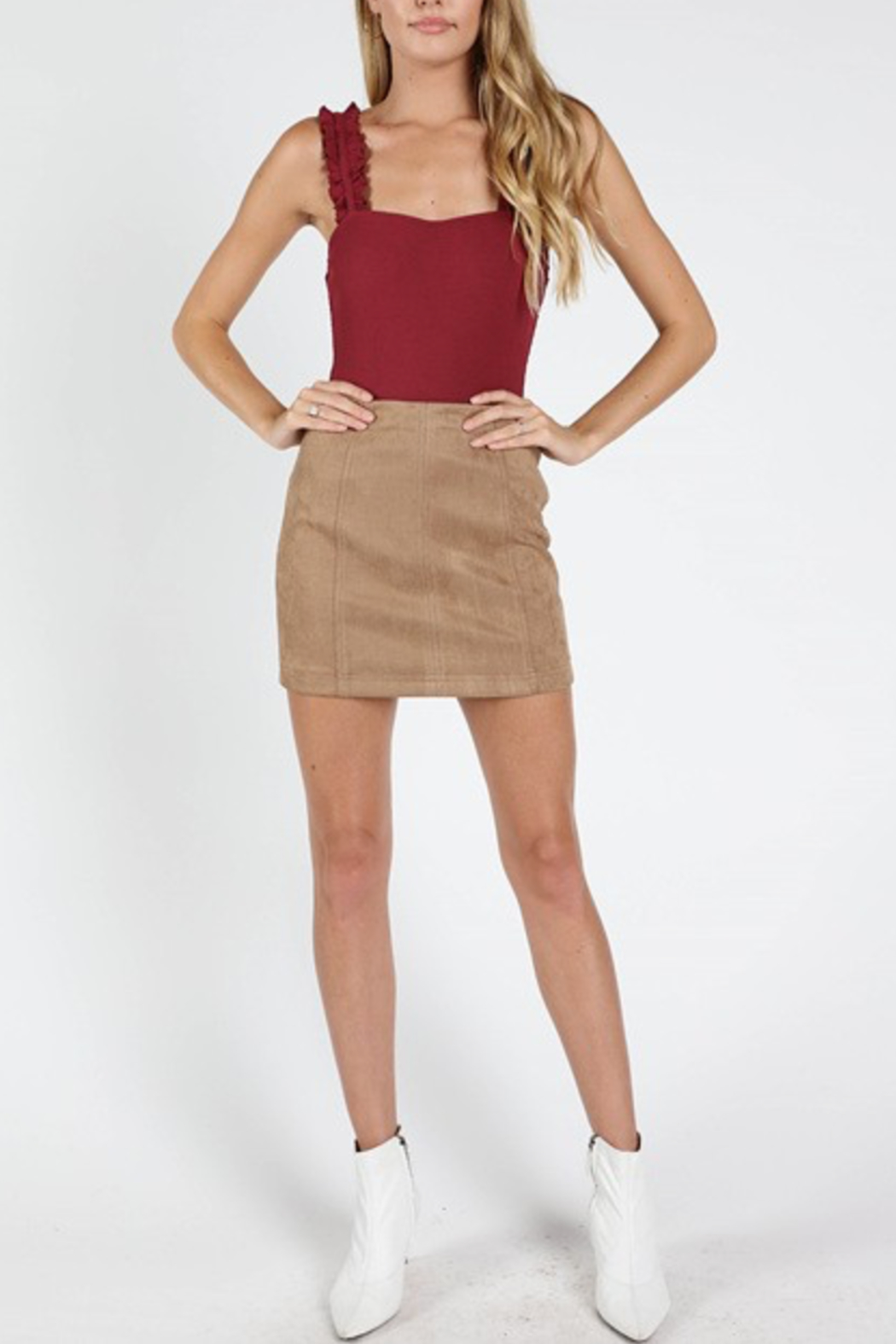 Honey Punch Suede Mini Skirt - Main Image