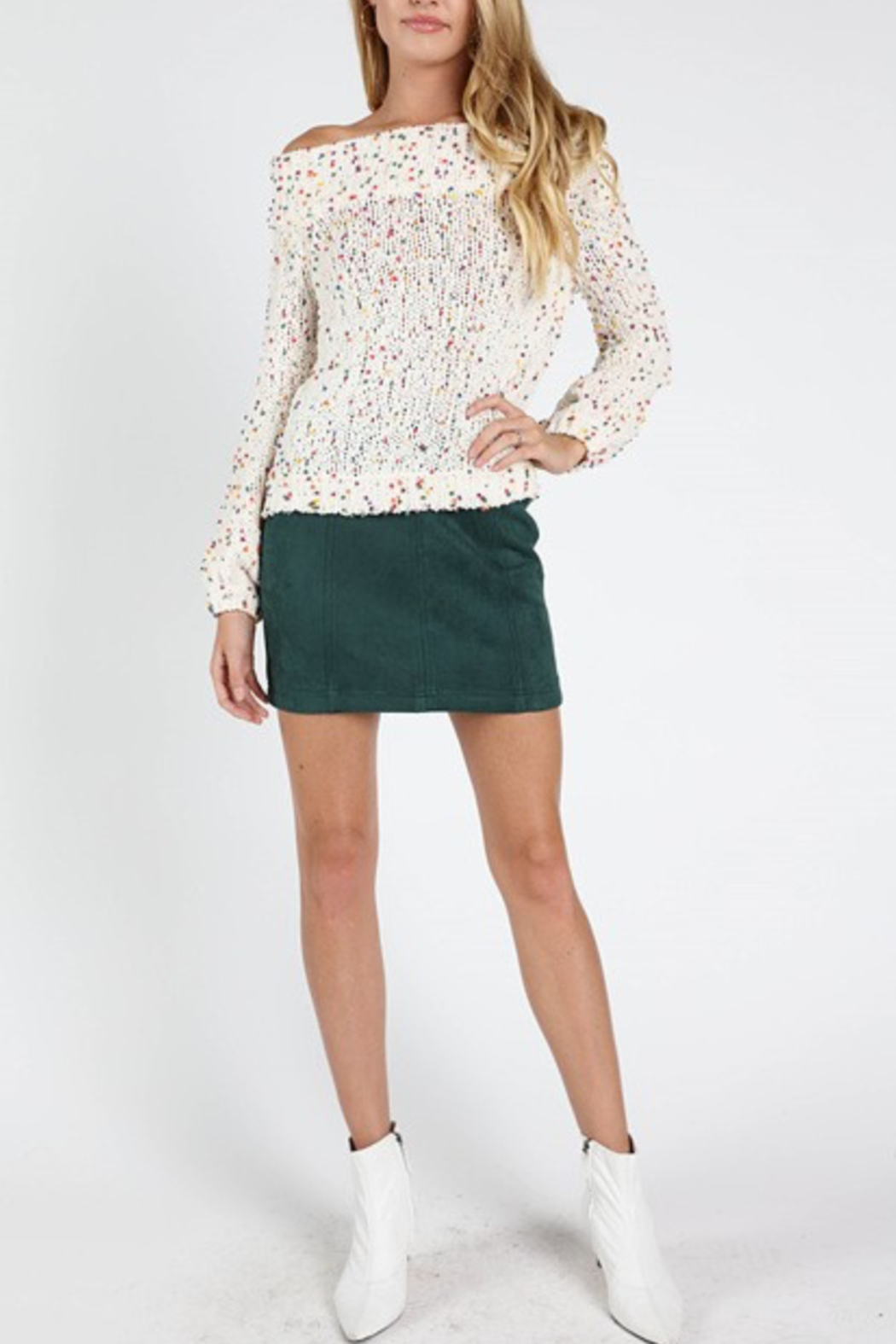 Honey Punch Suede Mini Skirt - Front Cropped Image