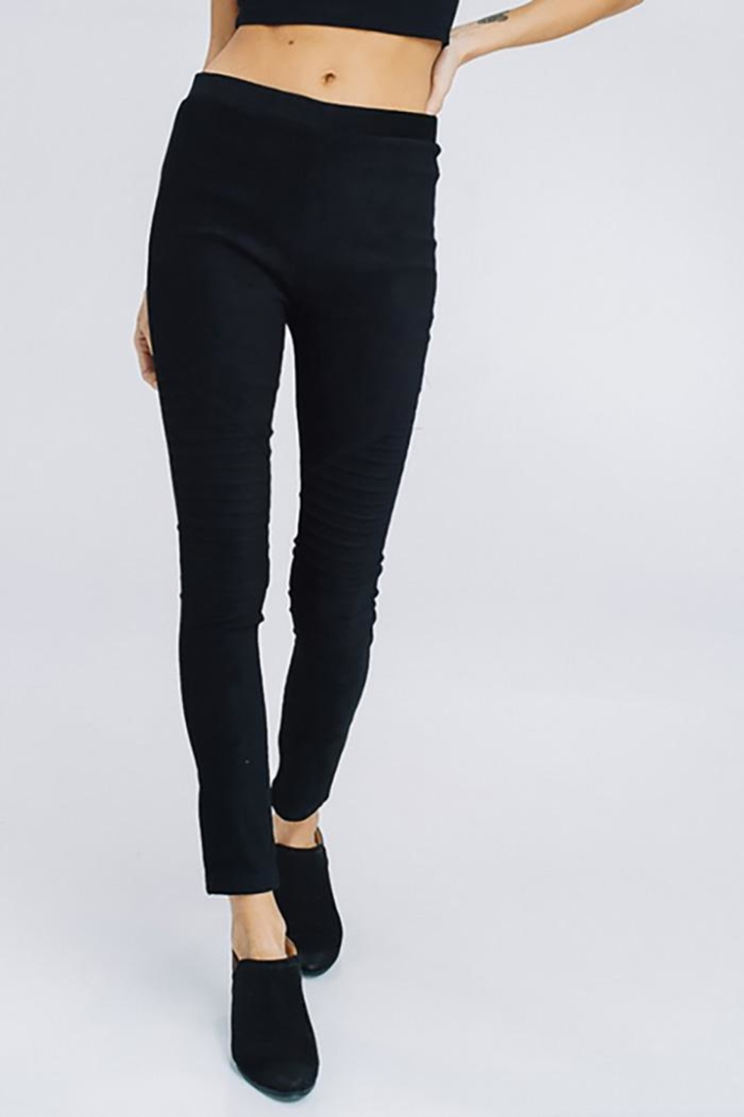 Cezanne Suede Moto Leggings - Back Cropped Image