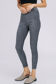 Cezanne Suede Moto Leggings - Front full body