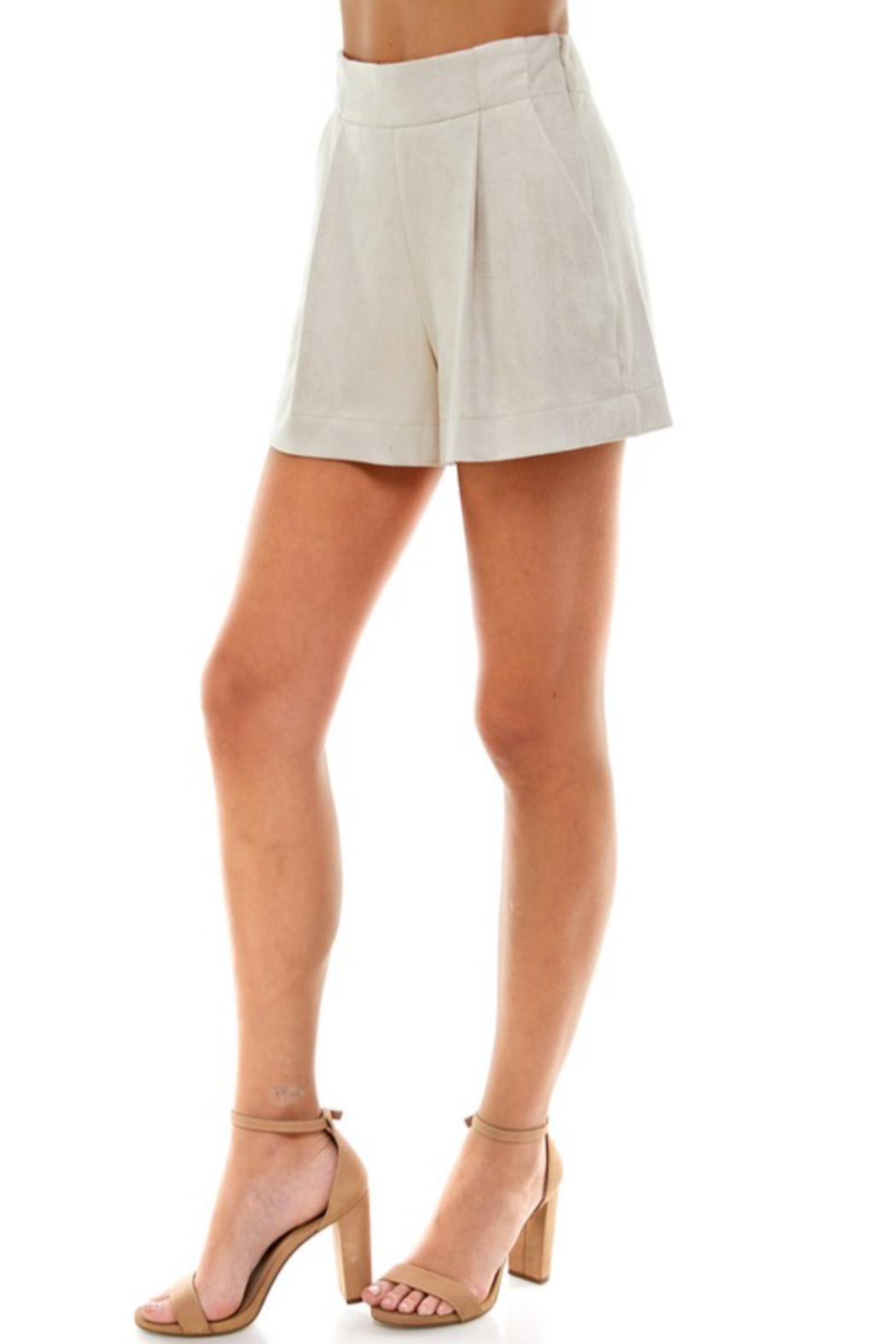 TCEC Suede Pleated Short - Back Cropped Image
