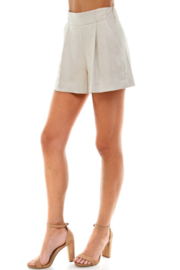TCEC Suede Pleated Short - Back cropped