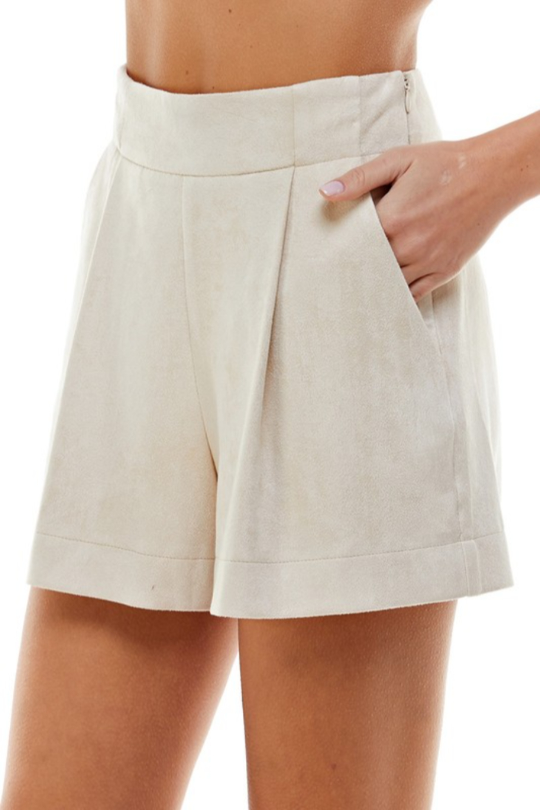 TCEC Suede Pleated Short - Front Full Image