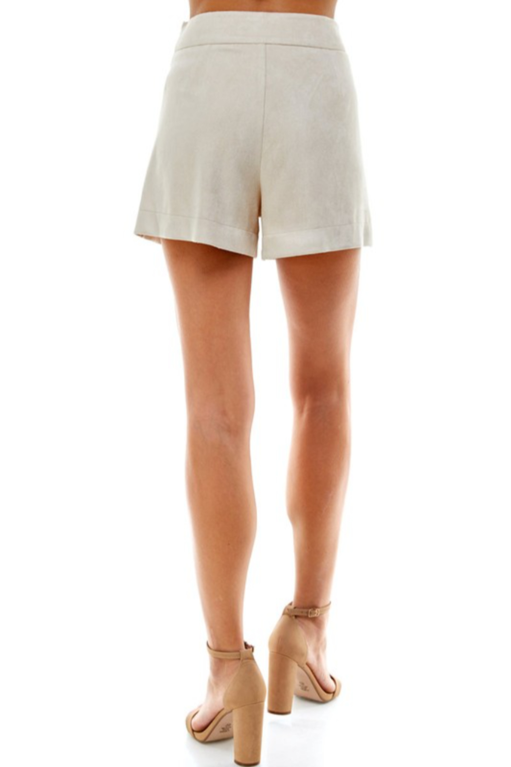TCEC Suede Pleated Short - Side Cropped Image