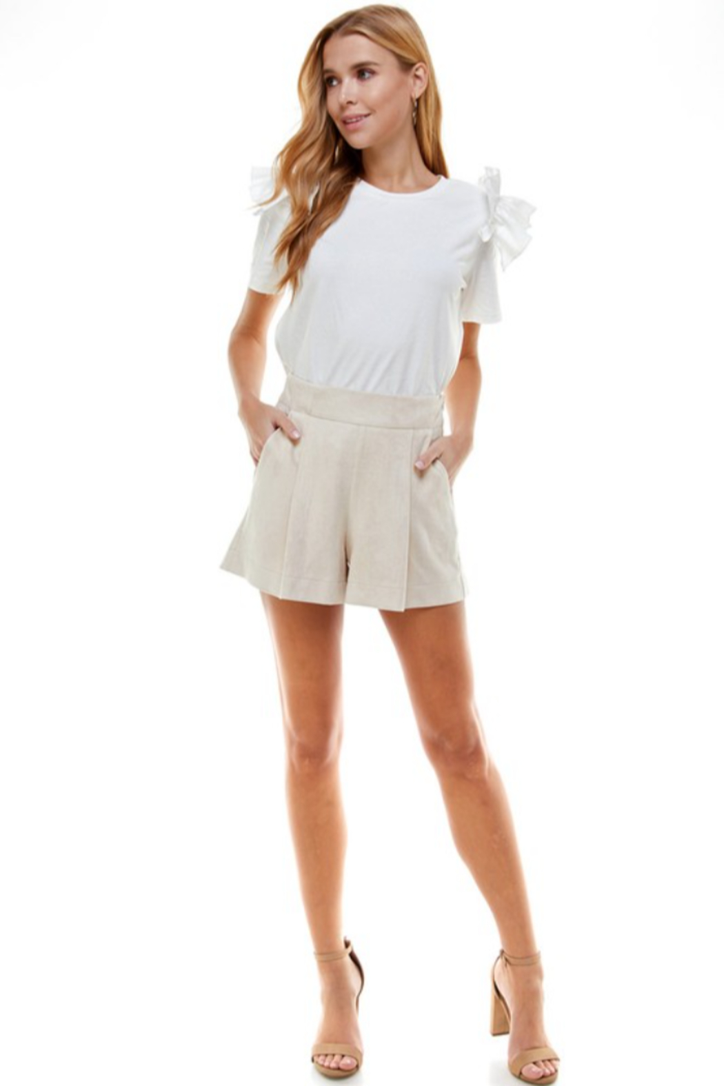TCEC Suede Pleated Short - Main Image