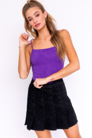 Le Lis Suede Ribbed Bodysuit - Back cropped