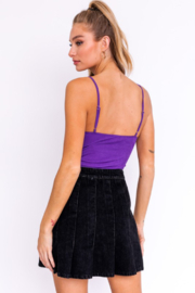 Le Lis Suede Ribbed Bodysuit - Front full body