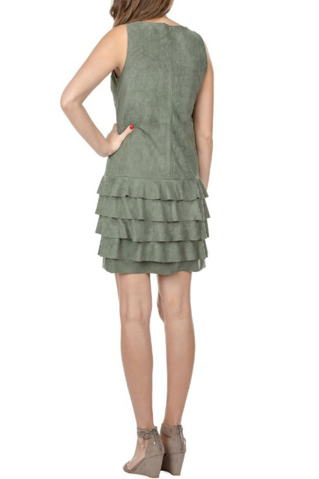 Jade Suede Ruffle Dress - Front Full Image