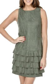 Jade Suede Ruffle Dress - Front cropped
