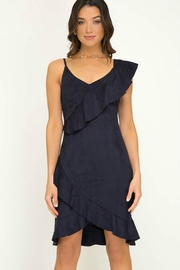 Towne Suede Ruffle Dress - Product Mini Image