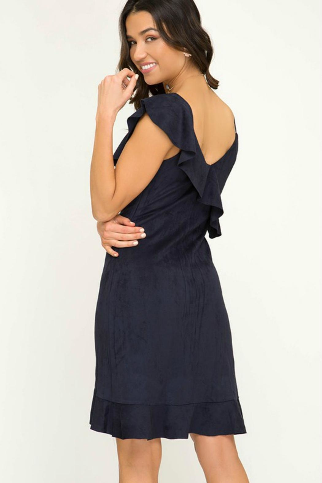 Towne Suede Ruffle Dress - Side Cropped Image