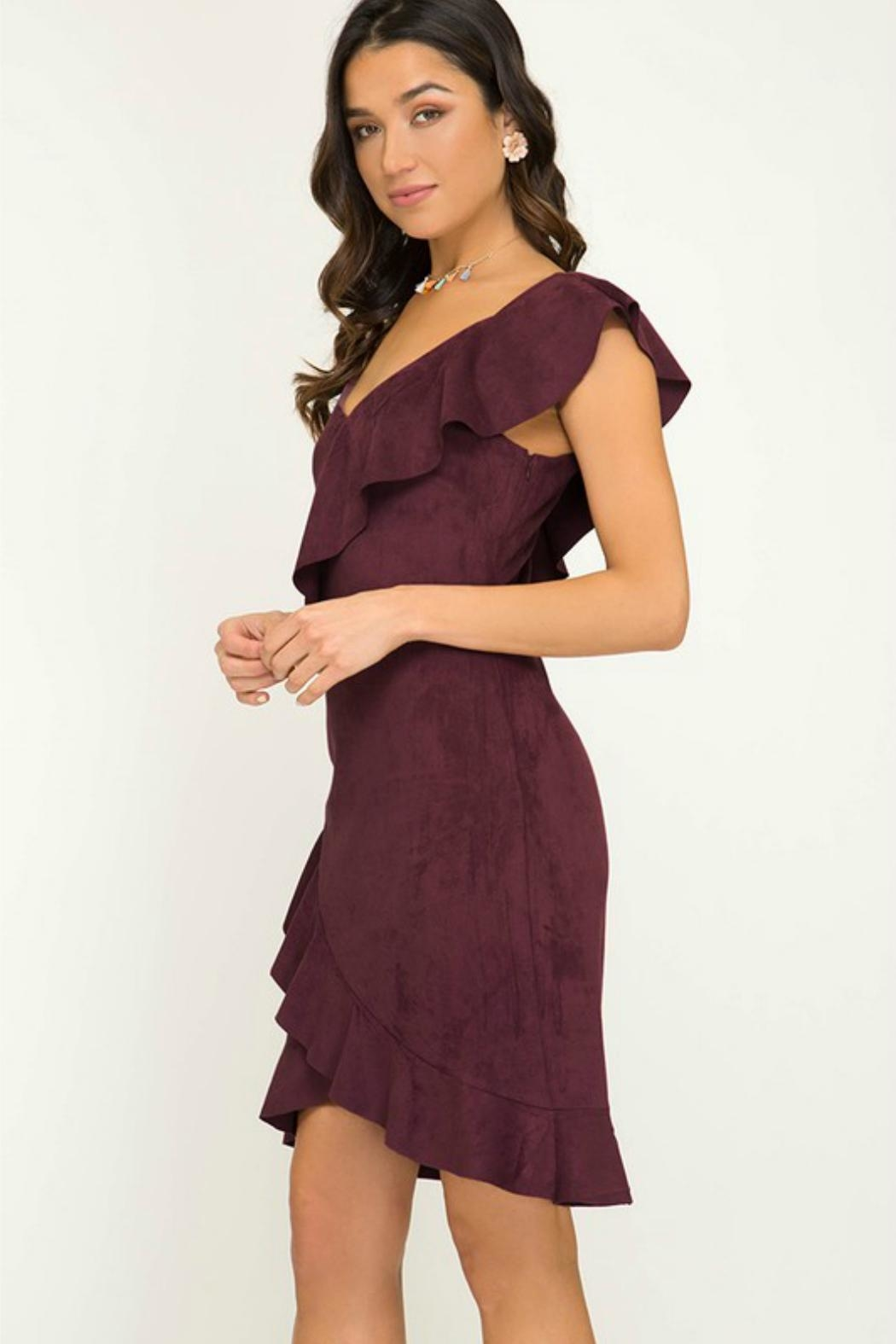 Towne Suede Ruffle Dress - Front Full Image