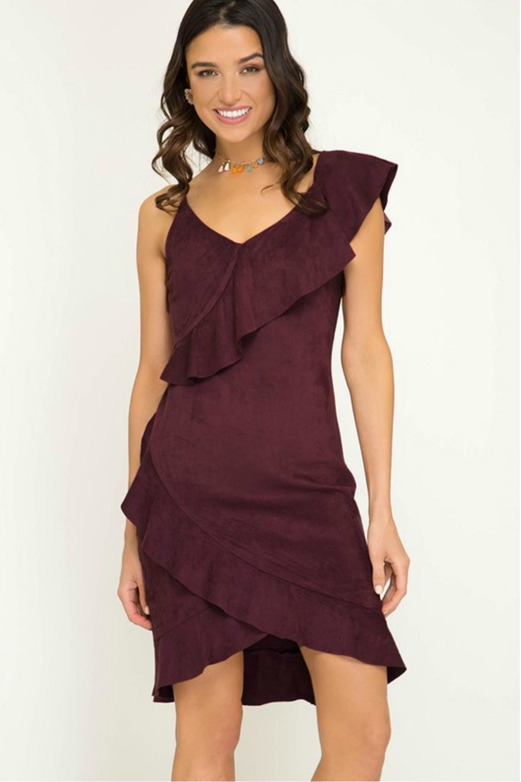 Towne Suede Ruffle Dress - Front Cropped Image