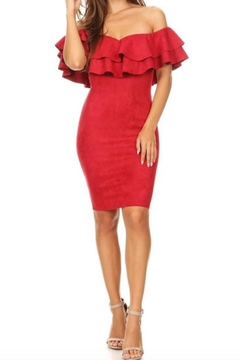 Kaylee Suede Ruffle Dress - Product List Image