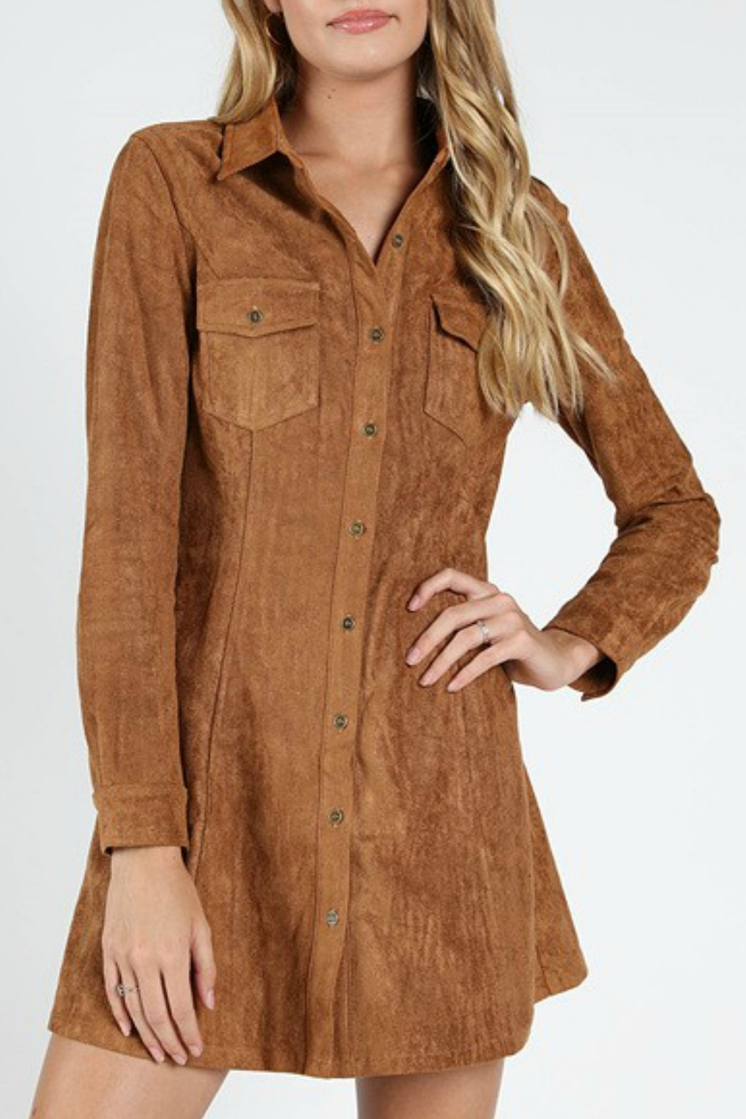 Wild Honey Suede Shirt Dress - Front Cropped Image