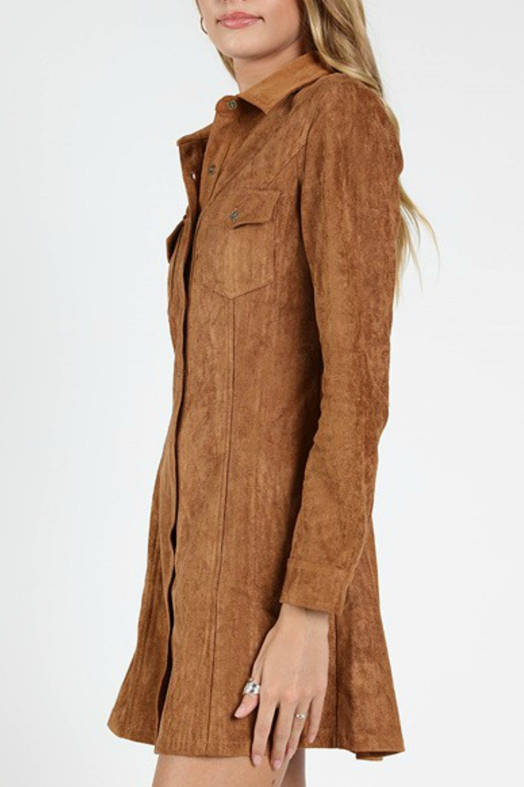 Wild Honey Suede Shirt Dress - Front Full Image