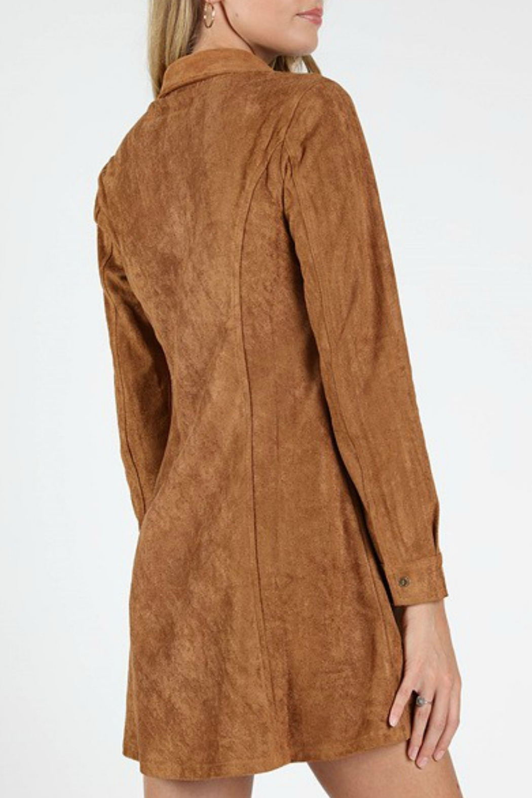 Wild Honey Suede Shirt Dress - Side Cropped Image