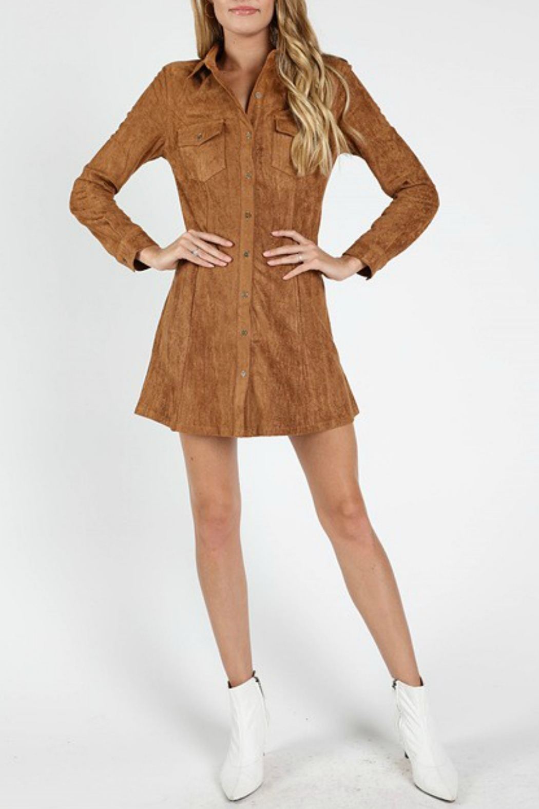Wild Honey Suede Shirt Dress - Back Cropped Image
