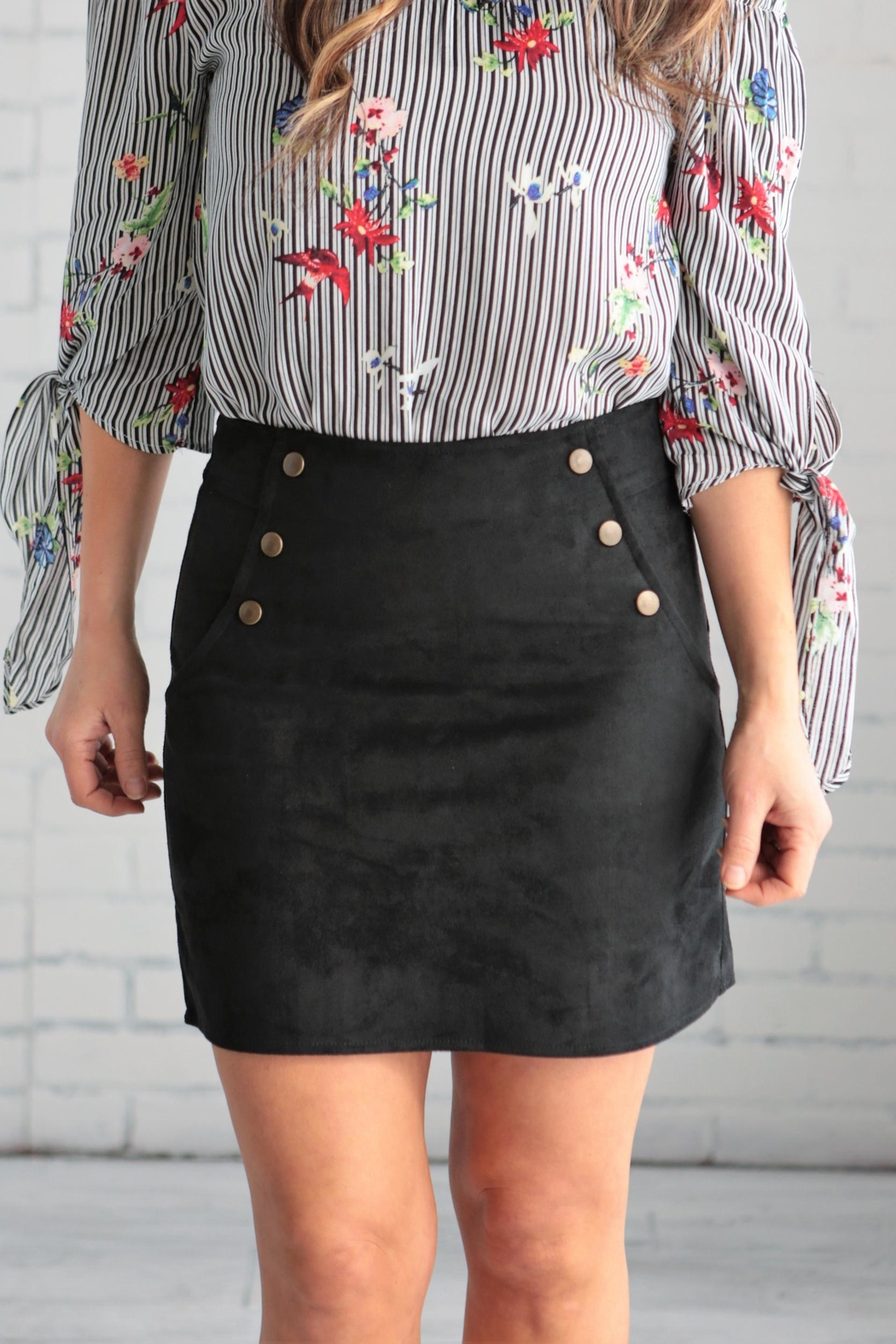 crescent Suede Skirt - Side Cropped Image